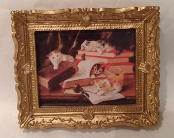 DOLLS HOUSE MINIATURES - Hand Framed picture - Library cats (7)
