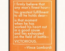 Vince Lombardi • Victorious/Field of Battle • Art Print • Various Colors/Sizes Available • 8x10