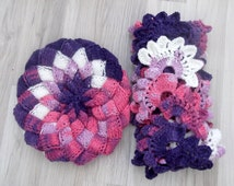 Hat and Crocheted Lace Scarf (lilac-purple-pink)-Colored Slouch-Behind baggy beret - for 1 hat and 1 scarf.