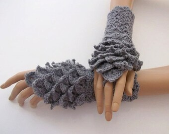 Crocodile Stitch Gray Gauntlets-Fingerless Gloves