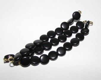 10 Black Tagua Nut Beads, 8mm Beads, Coin Beads, Organic Beads, Natural Beads, Vegetable Ivory Beads, EcoBeads