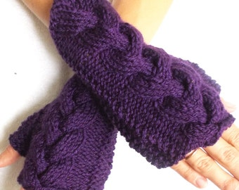 Knit  Wrist  Warmers, Fingerless Gloves Dark Violet Purple Cabled Acrylic