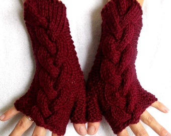 Fingerless Gloves Acrylic  Cabled  Wrist Warmers Burgundy  Dark Red Women Gloves
