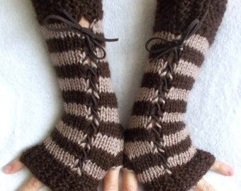 Knit Angora Mohair Fingerless Corset Gloves Arm Warmers in Brown Tones