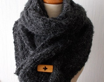 Handknit Chunky Scarf Thick and Warm Cabled in Dark Grey, Charcoal Tweed Alpaca Wool