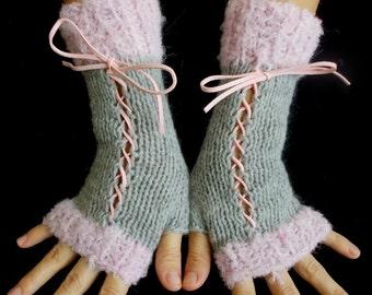 Fingerless Gloves Women Knit Corset Wrist  Warmers in Light  Grey and  Light Pink
