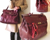 French Vtg burgundy Leather handbag Hermes Large bag / birkin style/ week end bag