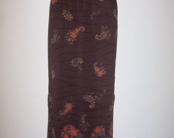 Misses Size 4 High Waist Double Slit Elegant Chocolate Brown Floral Print Skirt