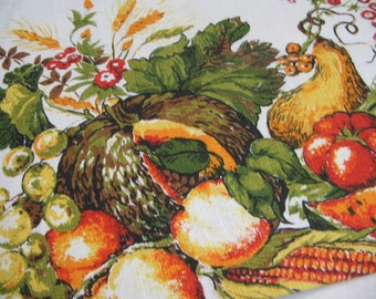 Vintage Linen Tea Towel Harvest 1979 Calendar Kitchen Wall Hanging, Autumn Fall Fruits Vegetables, Thanksgiving Natures Bounty