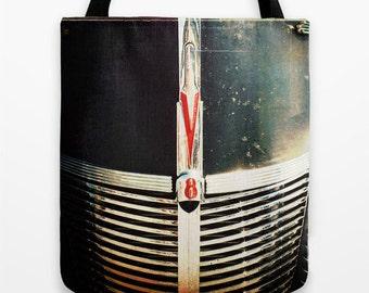 V8 Black Tote Bag - rat rod, book bag, grocery bag, gift for him, vintage car, chrome, red, black, gift bag