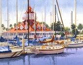 Coronado Boathouse California by Mary Helmreich