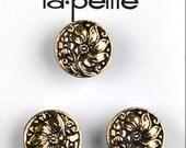 """LaPetite Buttons 9/16"""" Antique Gold Black La Petite Fashion Sewing Button 839"""