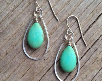 Boho Jewelry Turquoise Silver Earrings Blue Earrings Turquoise Jewelry