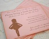 Bring a Book Insert Card Invitation Insert Ballerina For Baby Set of 10