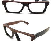 very square handmade vintage EBONY wood glasses from TAKEMOTO