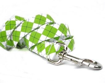 Argyle Dog Leash  - 6 Foot Leash - Lime Argyle
