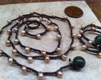 Fresh Water Pearl SET Delicate Feminine Necklace and Bracelet Crochet Woman Traditional Classic Chic Heavenly Pretty