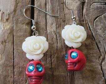 Red Howlite Skulls with White Resin Roses Earrings