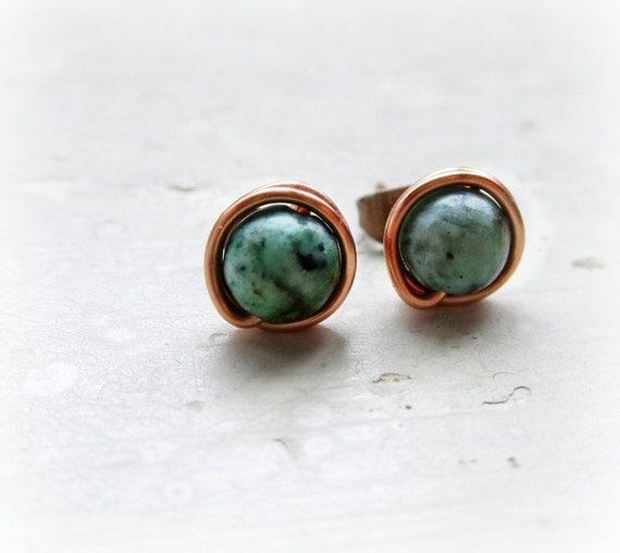 Turquoise Copper Stud Earrings // Southwestern Wire Wrapped Post Earrings