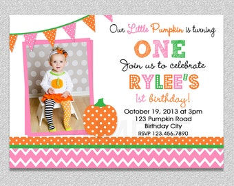 Pink and Orange  Pumpkin Birthday Invitation , Fall Pumpkin 1st Birthday Party Invitation Boys or Girls
