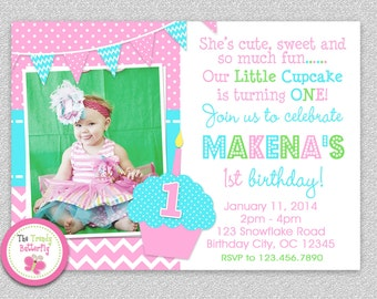 1st Birthday Cupcake Invitation , Cupcake 1st Birthday Party Invitation Printable