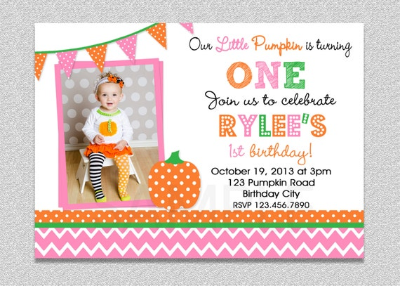 pink and orange pumpkin birthday invitation , fall pumpkin st, Birthday invitations