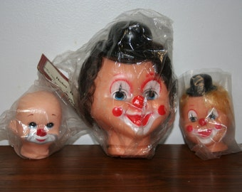 Three Vintage Clown Doll Heads