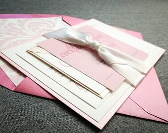 Pink Wedding Invitations, Modern Wedding Invitations, Hot Pink, Light Pink & Grey, Dramatic Script - Flat Panel, 1 Accent Layer, v1 - SAMPLE