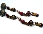 SHOULDER DUST Super Long 6 inch Clip on Earrings Maroon Golden Wine Dangle 80s Genuine Vintage Jewelry SAle was 25