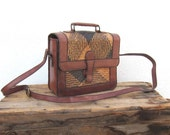 Vintage Woven Raffia and Chocolate Brown Leather Satchel Purse