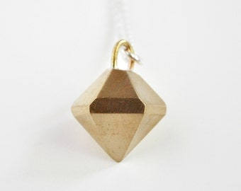 Bronze Crystal Necklace - Solid Bronze Pendant and Sterling Silver Chain