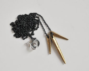 Midnight Sun Necklace in Oxidized Sterling Silver and Bronze