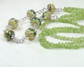 Sale-Peridot and Green Lampwork Necklace with Lime Tan and Evergreen Beads and Handmade Sterling Silver Chain