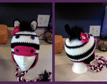 Super Cute Zebra earflap hat  - Made to ORDER