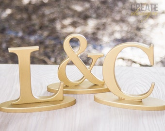 Wedding Initial Signs - Personalized Sweetheart Table Signs - Initials 2 Letters and Ampersand Sign (Item - INI200)