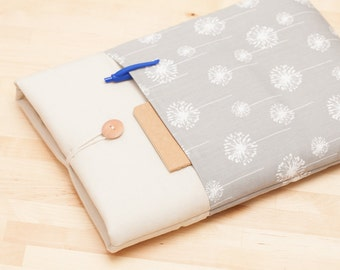 13 inch Macbook case / Macbook pro 13 case /  Laptop sleeve / padded with pockets  - grey dandelion in cream -