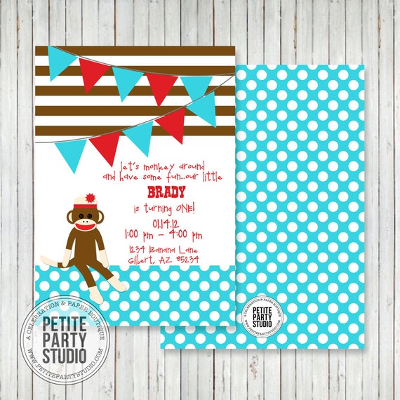 Vintage Sock Monkey Printable Party Invitation Birthday or Baby Shower - Petite Party Studio