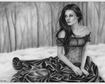 The Longing Forest Winter Snow Girl Woman Emo Art Print Glossy Zindy Nielsen