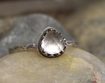 Oya Teardrop - Brilliant Rose Cut 6mm Heart White Topaz in Sterling Silver Crown Bezel