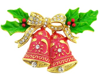 Christmas Bells with Bow & Holly Pin 1002081