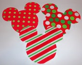 3 Iron On Fabric Applique CHRISTMAS Polka Dot And Stripe MICKEY Or MINNIE Mouse Appliques