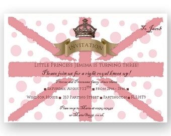 Royal Union Jack Pink DIY Party Invitation - Editable - INSTANT DOWNLOAD