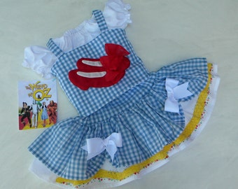 Toddler-Girl's Dorothy Dress-Wizard of Oz Birthday Party-Pageant Costume OOC, Ruby Slipper Applique, Blue Gingham, sizes 12 month through 10