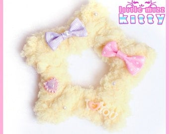 Yellow Fairy Kei Two-Way Fuzzy Star Hair Clip/Brooch