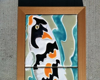 Koi Orange black white tiles in a alder frame