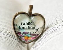 Map Jewelry, Jewelry, Necklace, Glass Heart, I Love Grand Junction Colorado, Necklace, Colorado Jewelry