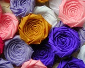 Wholesale Fabric Flower Rosettes 3-inch pink blue mustard aqua blue grey gray yellow fuchsia white ivory purple red green flower