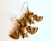 Bat Earrings / Bronze Bat Dangles / Hanging Chiroptera / Bat Jewelry / Bat Ear Glam / Bat Humor