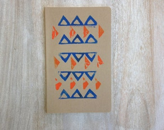 Tribal and geometric hand printed large notebook or journal block print