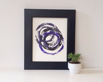 Geometric abstract circles monoprint 8 x 10 in black, gray, and purple